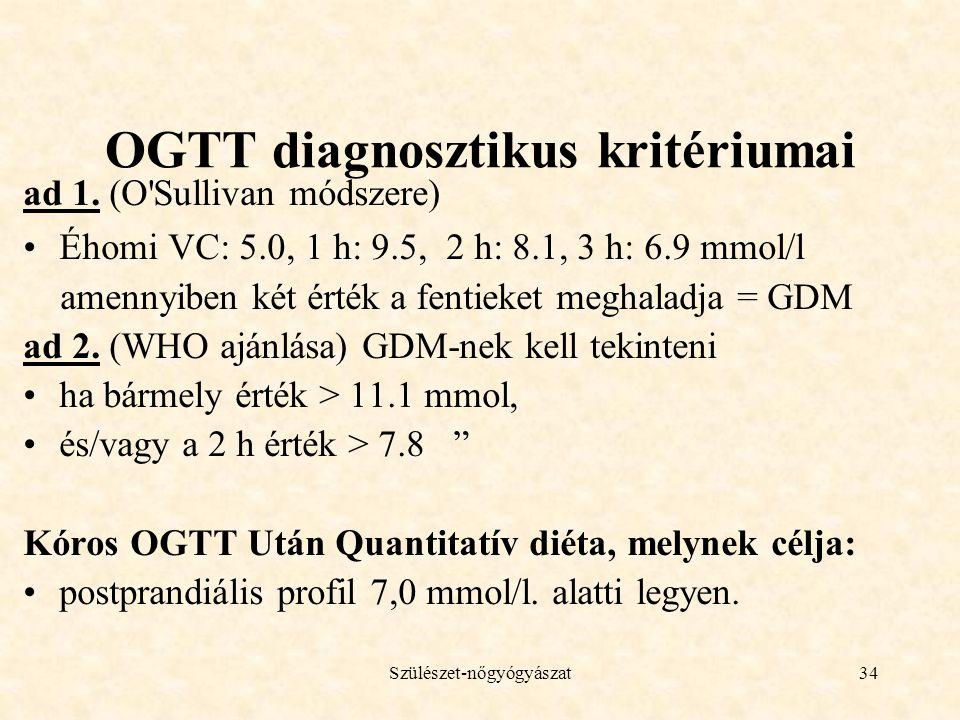 OGTT diagnosztikus kritériumai