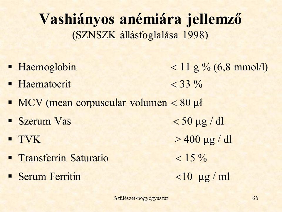 Vashiányos anémiára jellemző (SZNSZK állásfoglalása 1998)
