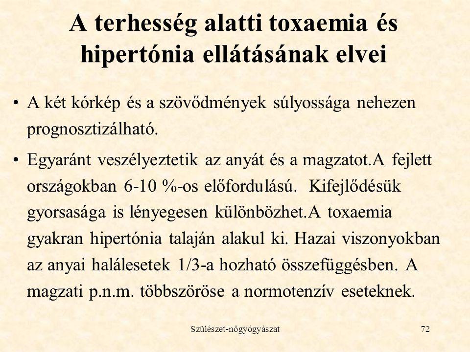 A terhesség alatti toxaemia és hipertónia ellátásának elvei