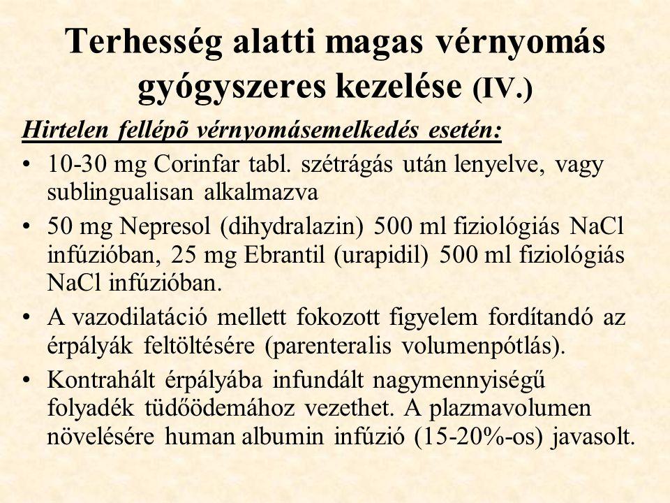 Terhesség alatti magas vérnyomás gyógyszeres kezelése (IV.)