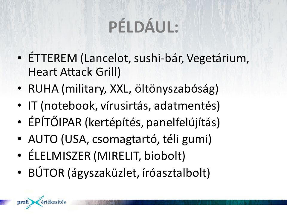 PÉLDÁUL: ÉTTEREM (Lancelot, sushi-bár, Vegetárium, Heart Attack Grill)