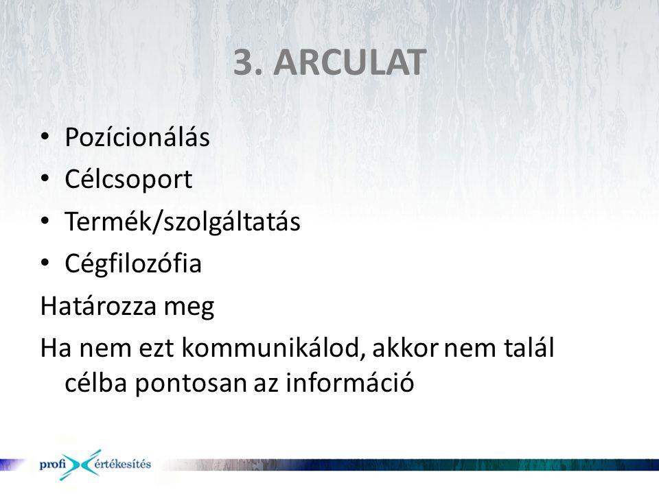 3. ARCULAT Pozícionálás Célcsoport Termék/szolgáltatás Cégfilozófia
