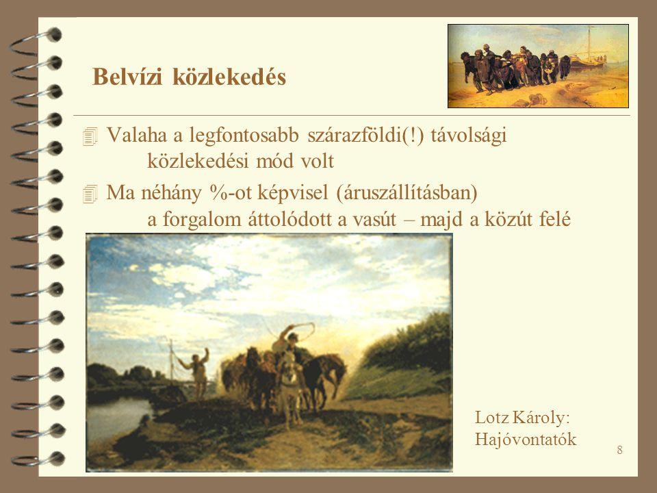Belvízi közlekedés Valaha a legfontosabb szárazföldi(!) távolsági közlekedési mód volt.