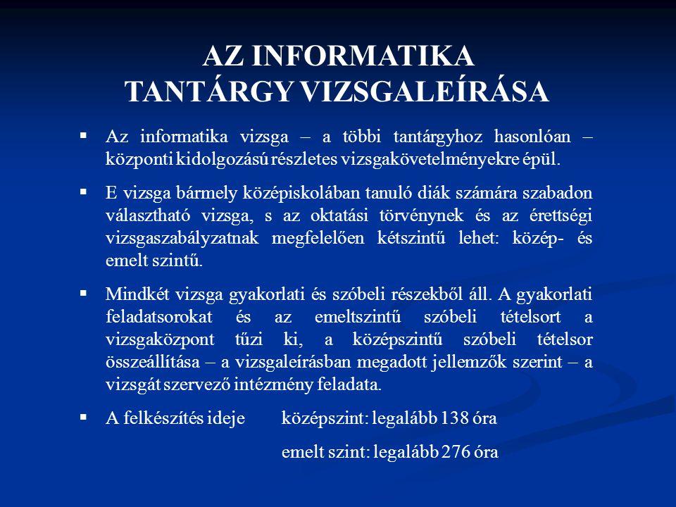 AZ INFORMATIKA TANTÁRGY VIZSGALEÍRÁSA