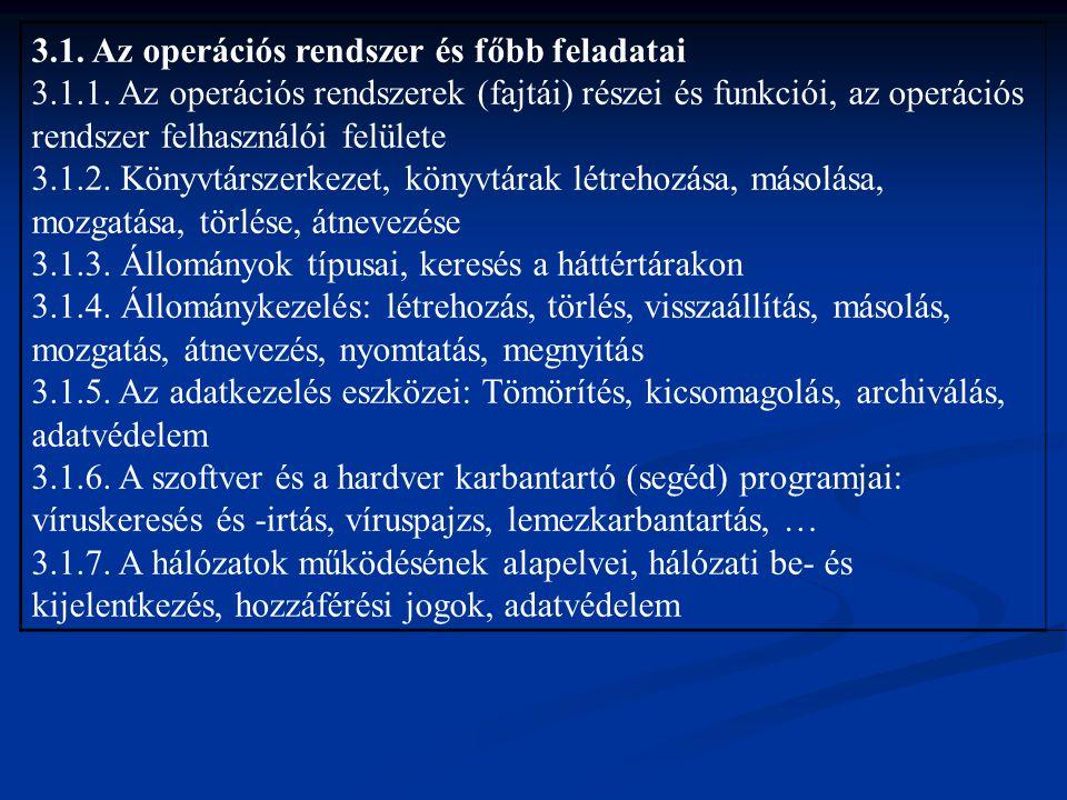 3.1. Az operációs rendszer és főbb feladatai