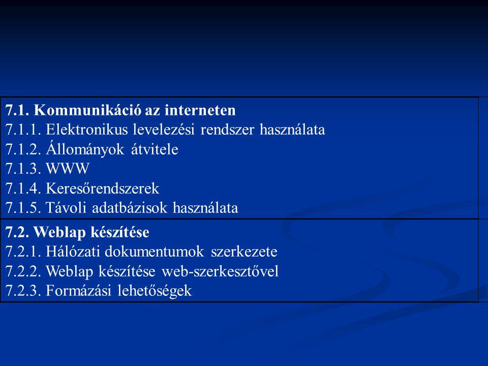 7.1. Kommunikáció az interneten