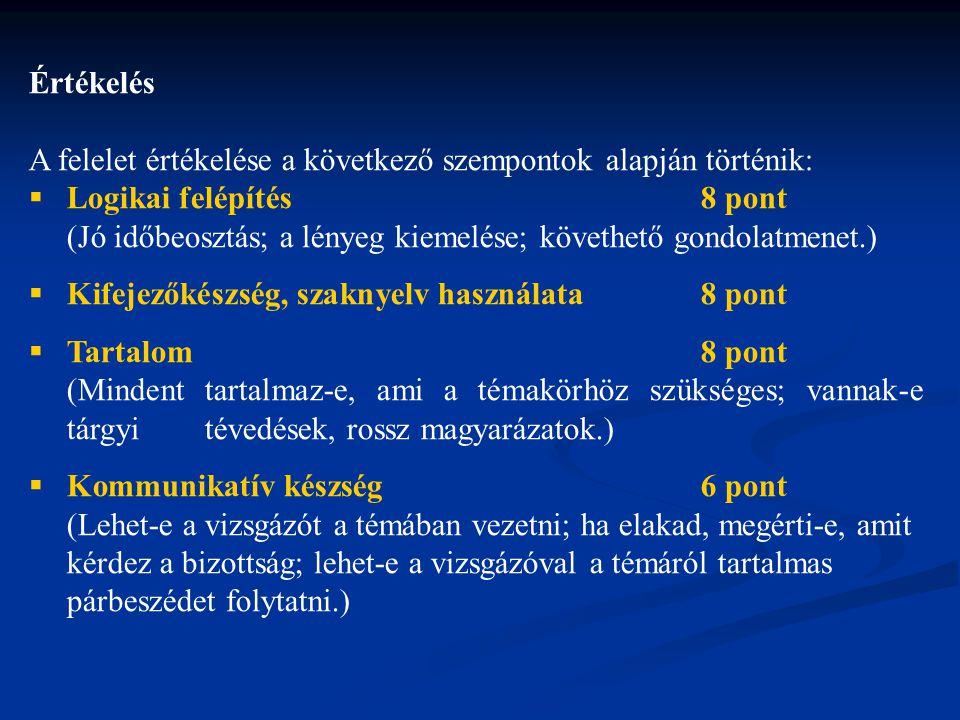 Értékelés A felelet értékelése a következő szempontok alapján történik: Logikai felépítés 8 pont.