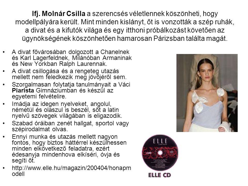 Ifj. Molnár Csilla a szerencsés véletlennek köszönheti, hogy modellpályára került. Mint minden kislányt, őt is vonzották a szép ruhák, a divat és a kifutók világa és egy itthoni próbálkozást követően az ügynökségének köszönhetően hamarosan Párizsban találta magát.