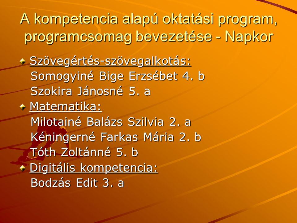 A kompetencia alapú oktatási program, programcsomag bevezetése - Napkor