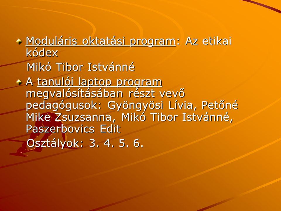 Moduláris oktatási program: Az etikai kódex