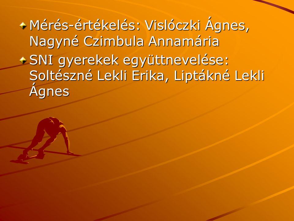 Mérés-értékelés: Vislóczki Ágnes, Nagyné Czimbula Annamária