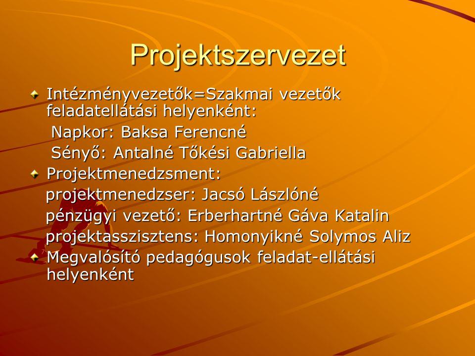 Projektszervezet Intézményvezetők=Szakmai vezetők feladatellátási helyenként: Napkor: Baksa Ferencné.