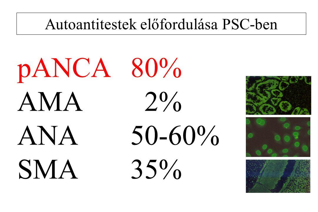 Autoantitestek előfordulása PSC-ben