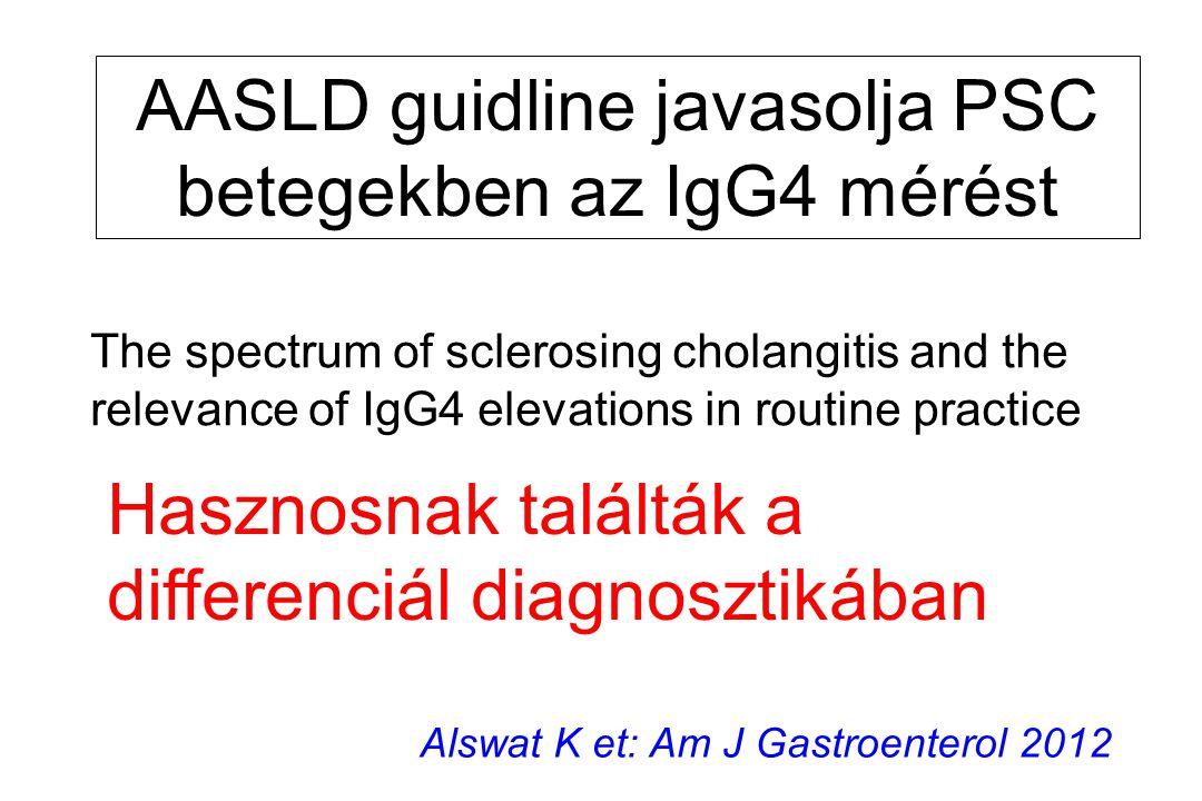 AASLD guidline javasolja PSC betegekben az IgG4 mérést