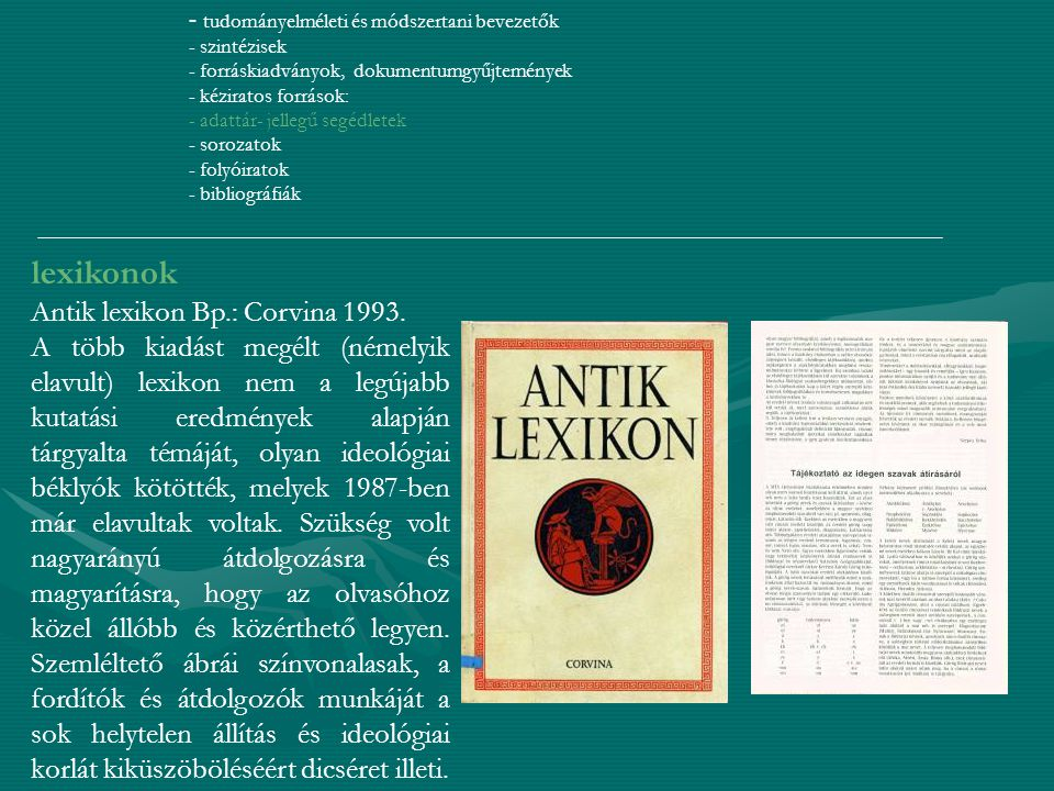 lexikonok Antik lexikon Bp.: Corvina 1993.