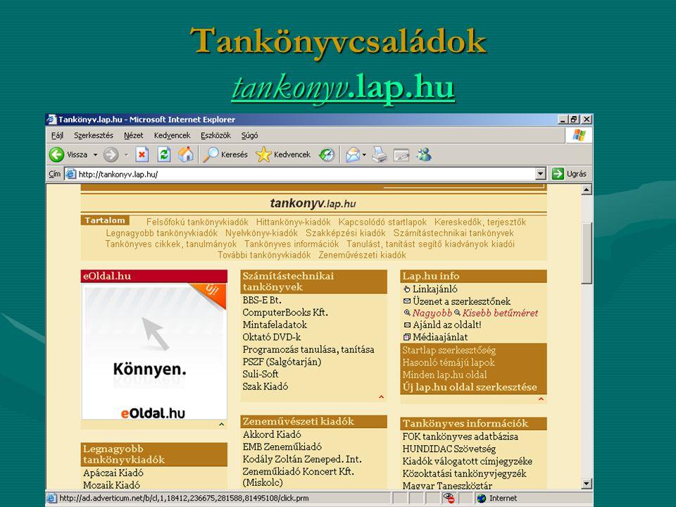Tankönyvcsaládok tankonyv.lap.hu