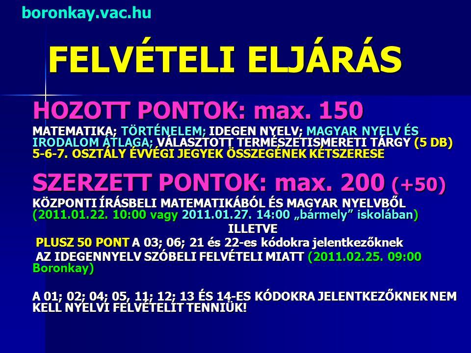 FELVÉTELI ELJÁRÁS HOZOTT PONTOK: max. 150