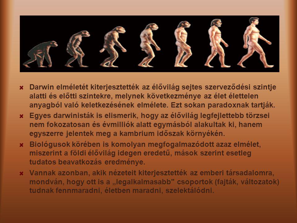 Darwin elméletét kiterjesztették az élővilág sejtes szerveződési szintje alatti és előtti szintekre, melynek következménye az élet élettelen anyagból való keletkezésének elmélete. Ezt sokan paradoxnak tartják.