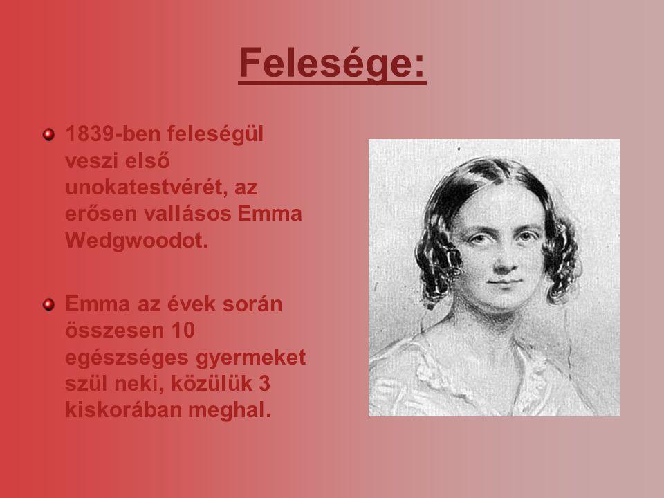 Felesége: 1839-ben feleségül veszi első unokatestvérét, az erősen vallásos Emma Wedgwoodot.