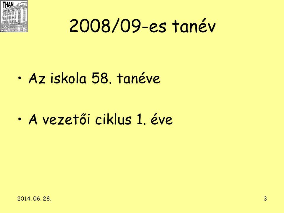 2008/09-es tanév Az iskola 58. tanéve A vezetői ciklus 1. éve