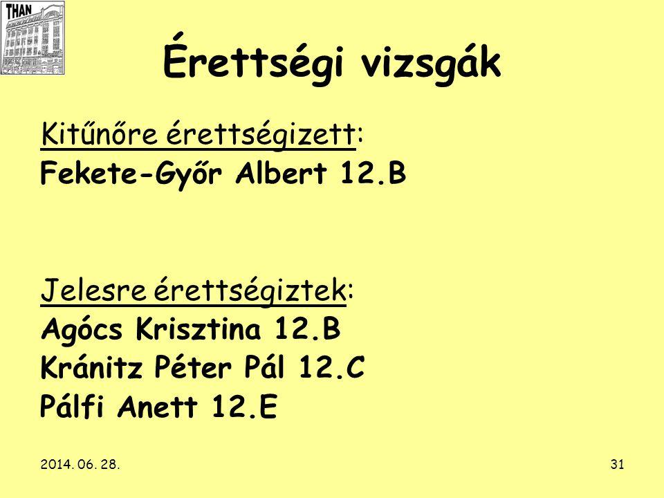 Érettségi vizsgák Kitűnőre érettségizett: Fekete-Győr Albert 12.B
