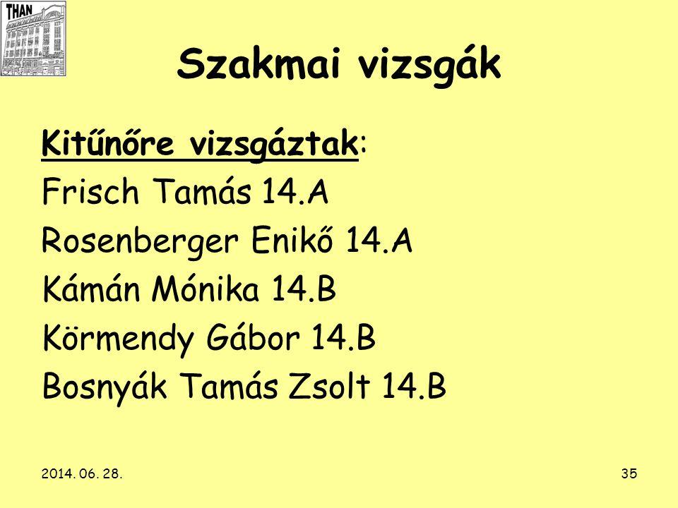 Szakmai vizsgák Kitűnőre vizsgáztak: Frisch Tamás 14.A