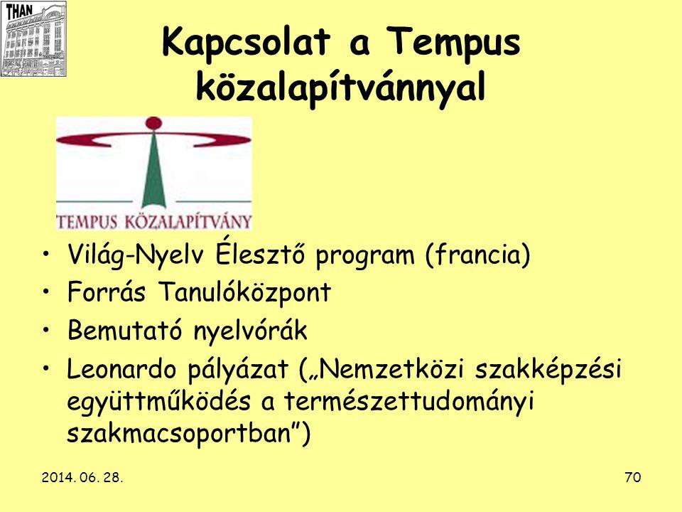 Kapcsolat a Tempus közalapítvánnyal