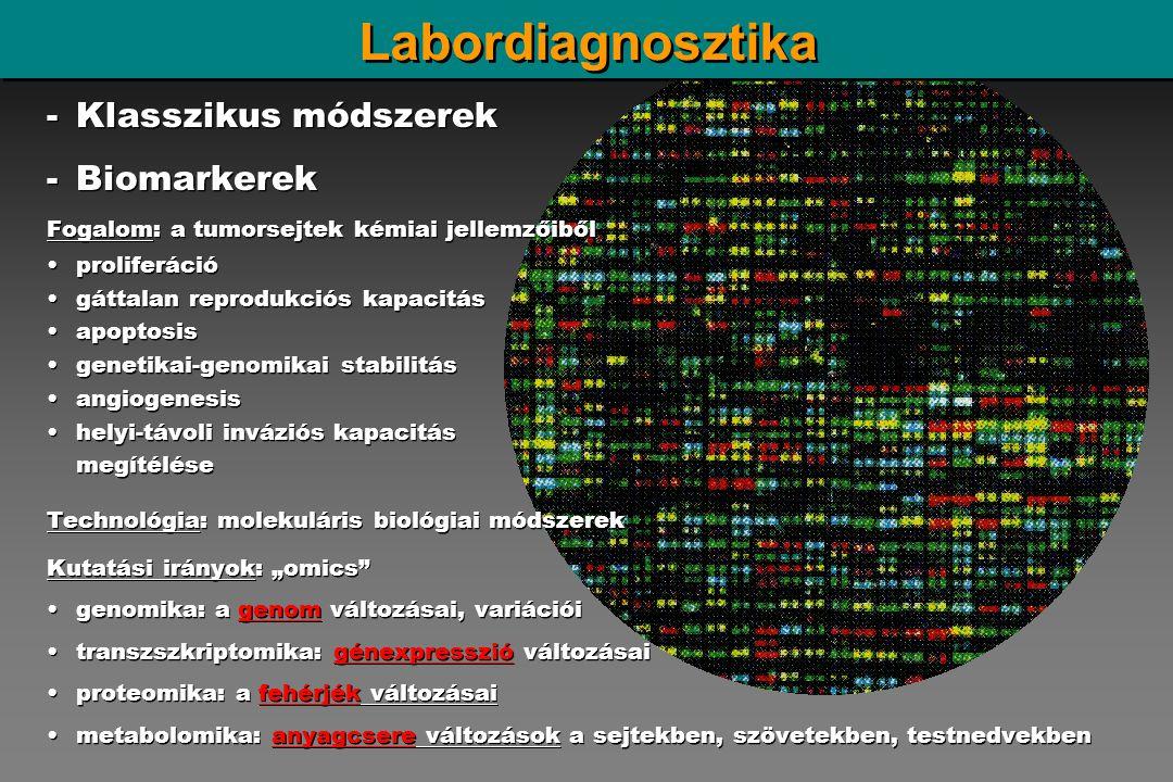 Labordiagnosztika Klasszikus módszerek Biomarkerek