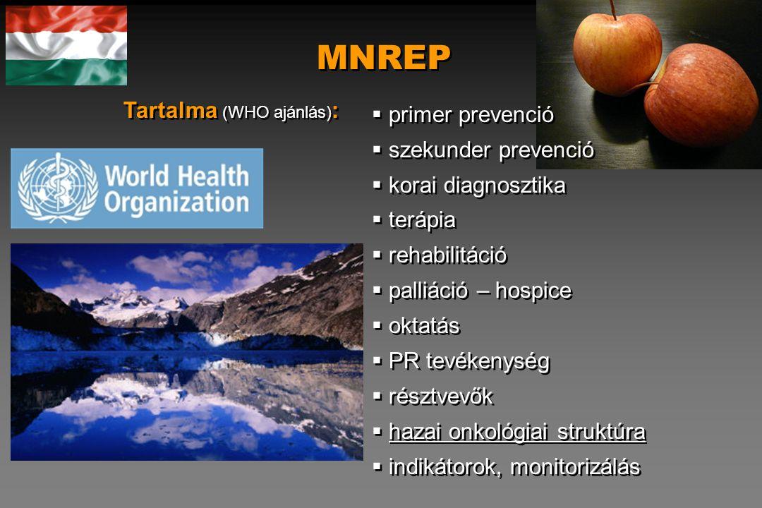 MNREP Tartalma (WHO ajánlás): primer prevenció szekunder prevenció