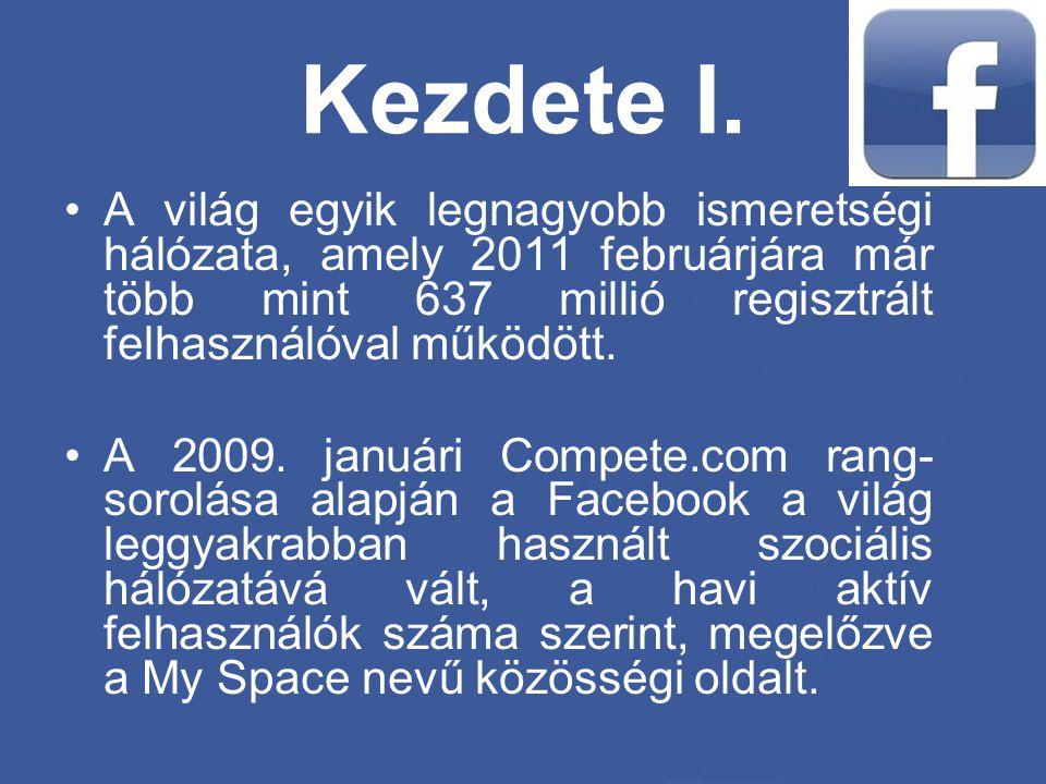 Kezdete I. A világ egyik legnagyobb ismeretségi hálózata, amely 2011 februárjára már több mint 637 millió regisztrált felhasználóval működött.