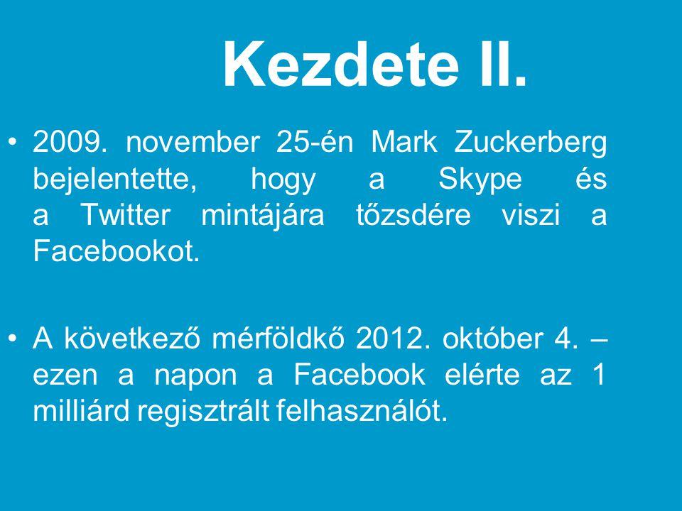 Kezdete II. 2009. november 25-én Mark Zuckerberg bejelentette, hogy a Skype és a Twitter mintájára tőzsdére viszi a Facebookot.