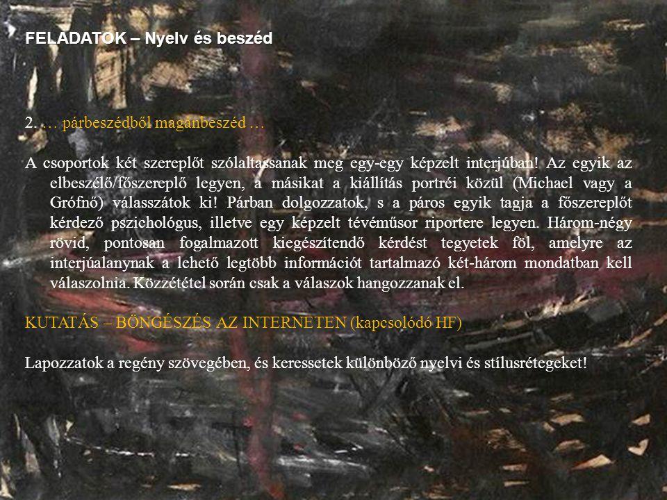 FELADATOK – Nyelv és beszéd