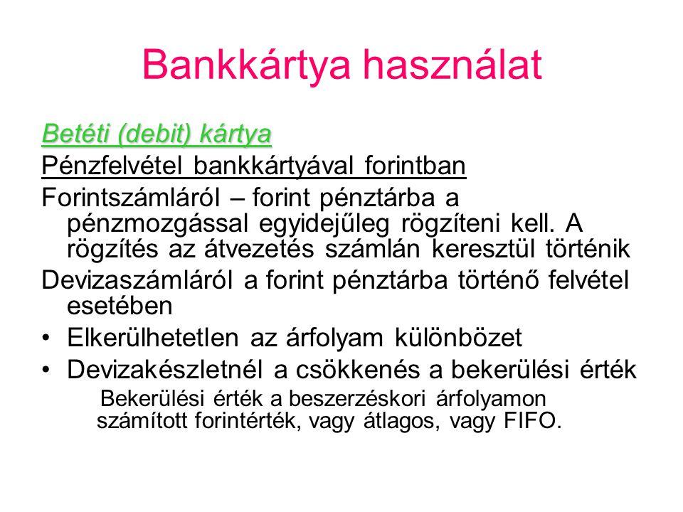 Bankkártya használat Betéti (debit) kártya