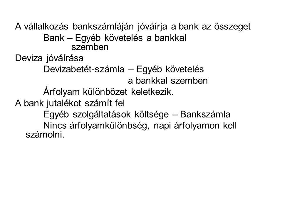 A vállalkozás bankszámláján jóváírja a bank az összeget