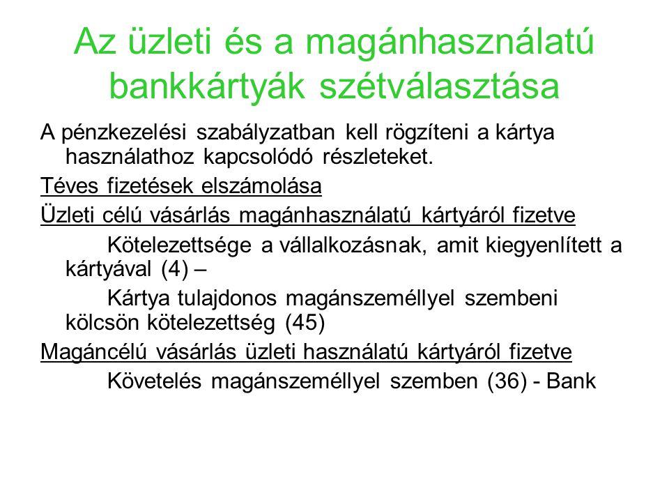 Az üzleti és a magánhasználatú bankkártyák szétválasztása