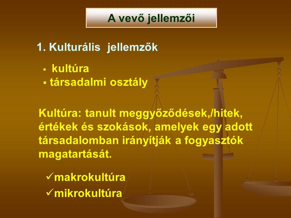 A vevő jellemzői 1. Kulturális jellemzők