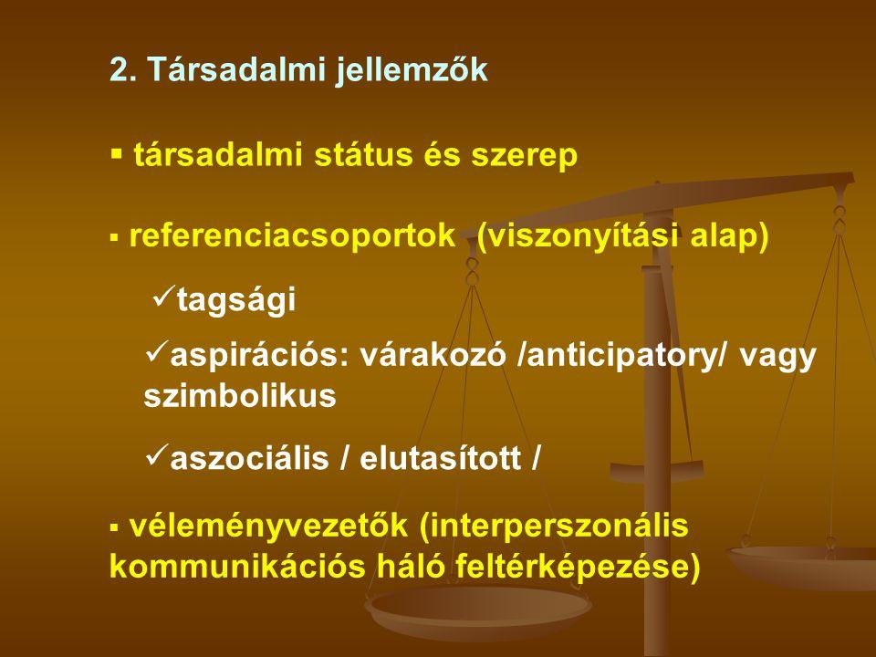 2. Társadalmi jellemzők társadalmi státus és szerep. referenciacsoportok (viszonyítási alap) tagsági.