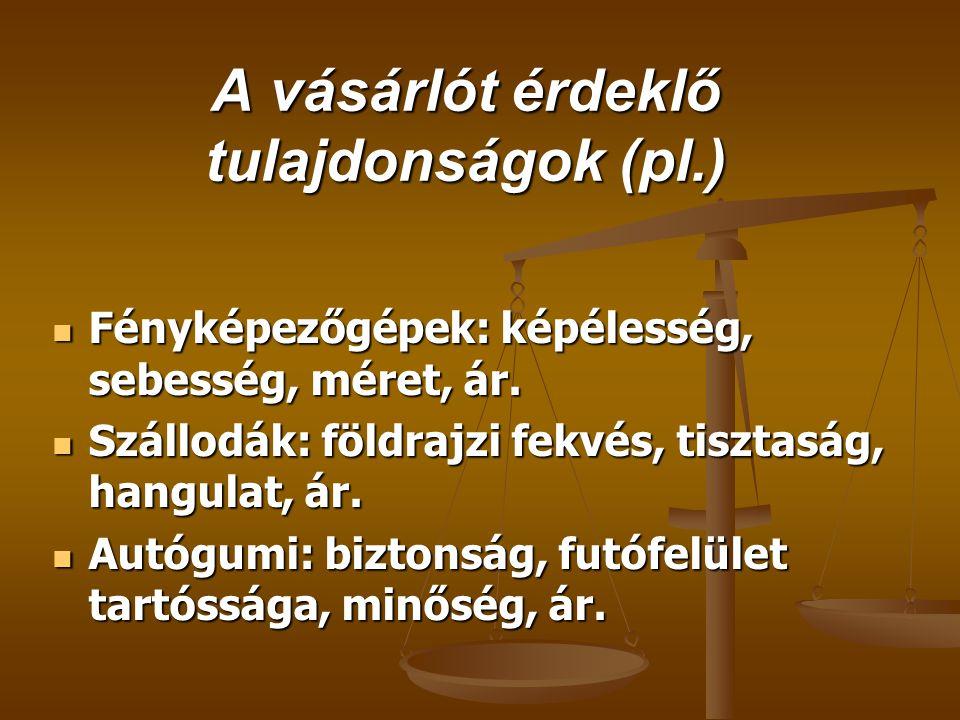 A vásárlót érdeklő tulajdonságok (pl.)