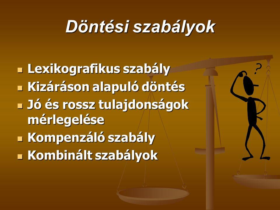 Döntési szabályok Lexikografikus szabály Kizáráson alapuló döntés