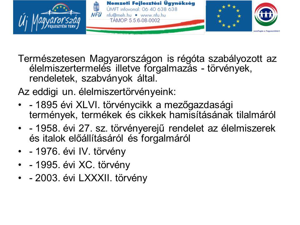 Természetesen Magyarországon is régóta szabályozott az élelmiszertermelés illetve forgalmazás - törvények, rendeletek, szabványok által.