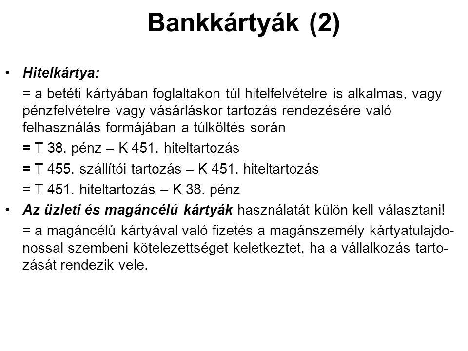 Bankkártyák (2) Hitelkártya: