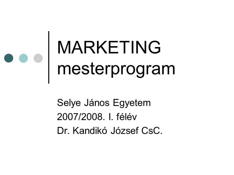 MARKETING mesterprogram