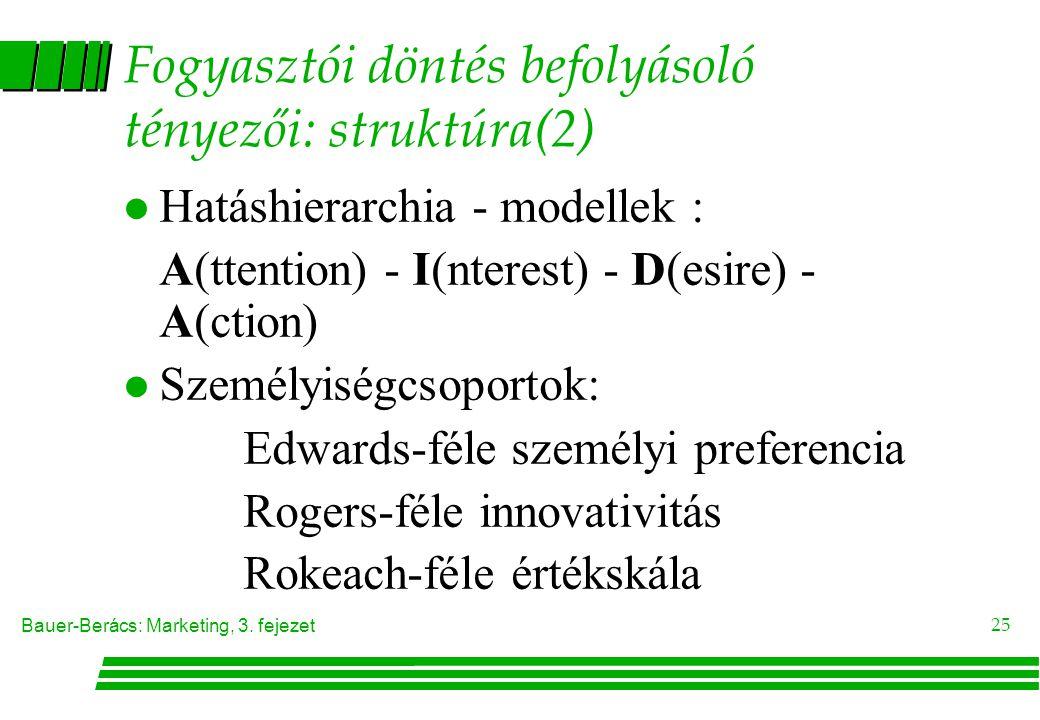 Fogyasztói döntés befolyásoló tényezői: struktúra(2)