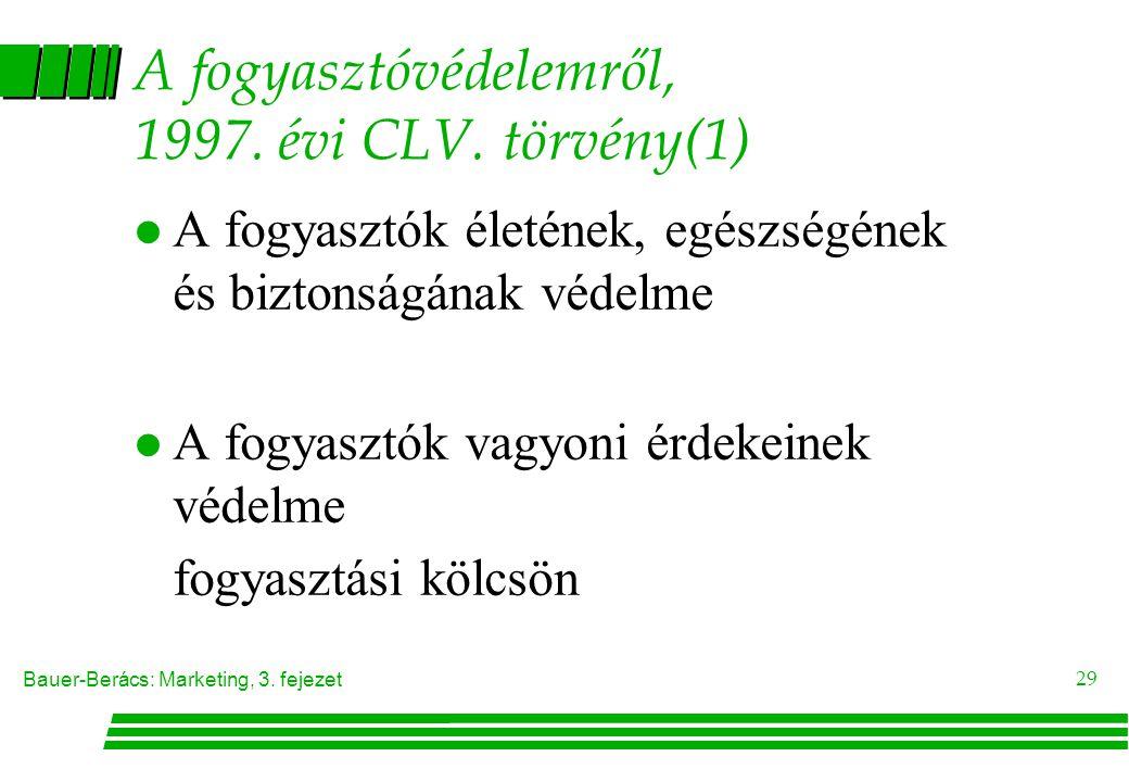 A fogyasztóvédelemről, 1997. évi CLV. törvény(1)