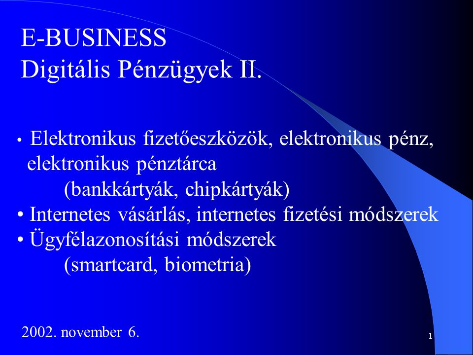 Digitális Pénzügyek II.
