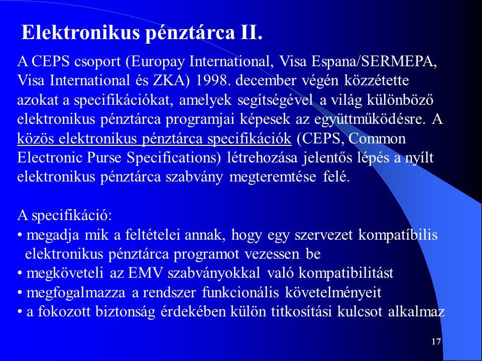 Elektronikus pénztárca II.