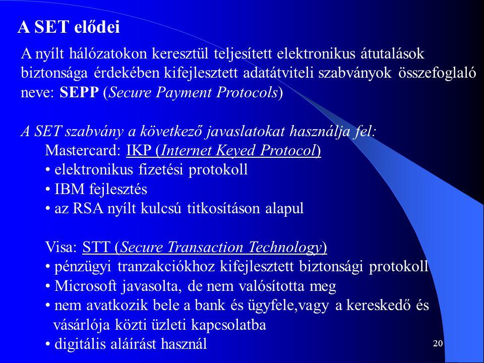 A SET elődei A nyílt hálózatokon keresztül teljesített elektronikus átutalások.