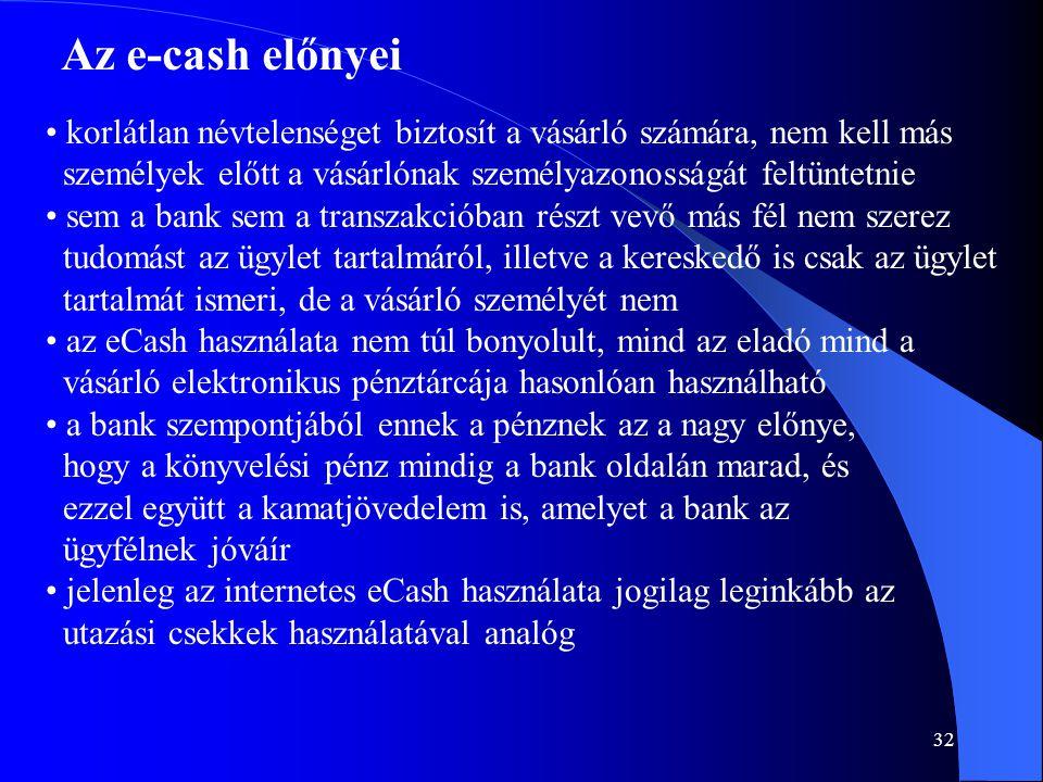 Az e-cash előnyei korlátlan névtelenséget biztosít a vásárló számára, nem kell más. személyek előtt a vásárlónak személyazonosságát feltüntetnie.