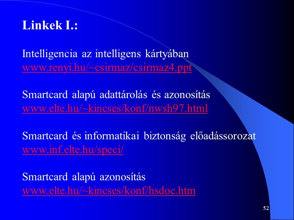 Linkek I.: Intelligencia az intelligens kártyában