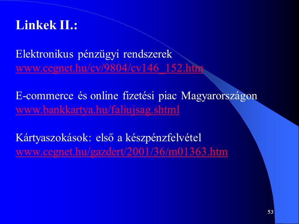 Linkek II.: Elektronikus pénzügyi rendszerek
